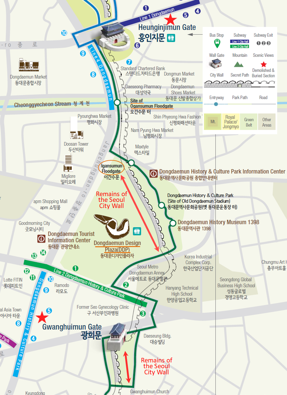 Seoul City Wall Hiking Course Map (Heunginjimun Gate Trail) from Heunginjimun Gate to Gwanghuimun Gate | Seoul, South Korea