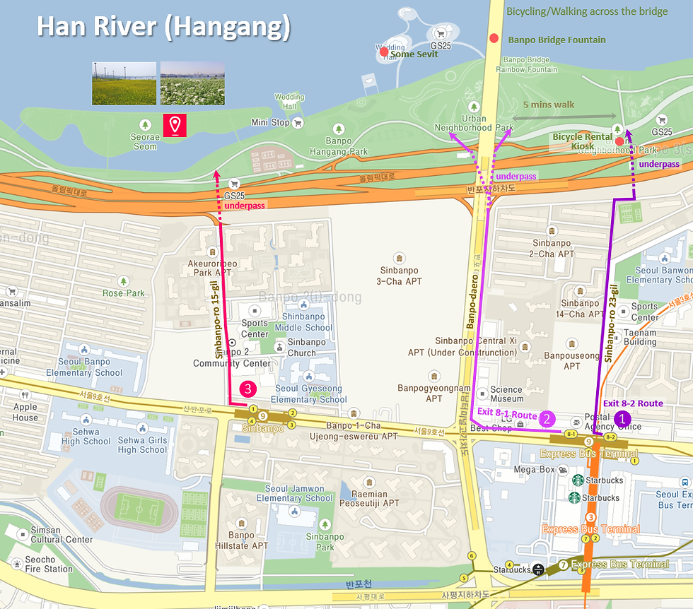 Getting to Banpo Seorae Island & Location Map of Top Places around | Seoul, South Korea