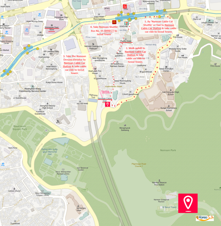 Map on Ways to Namsan Cable Car Station from Myeongdong