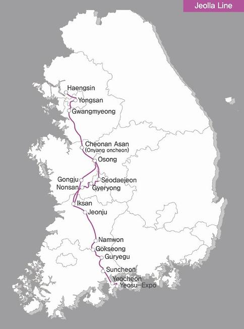 KTX - Jeolla Line Map | KoreaToDo