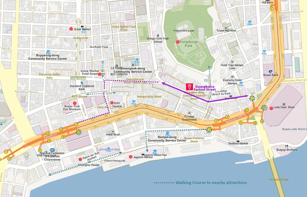 Getting to Gwangbokro Fashion Street & Location Map of Top Places around | Busan, South Korea