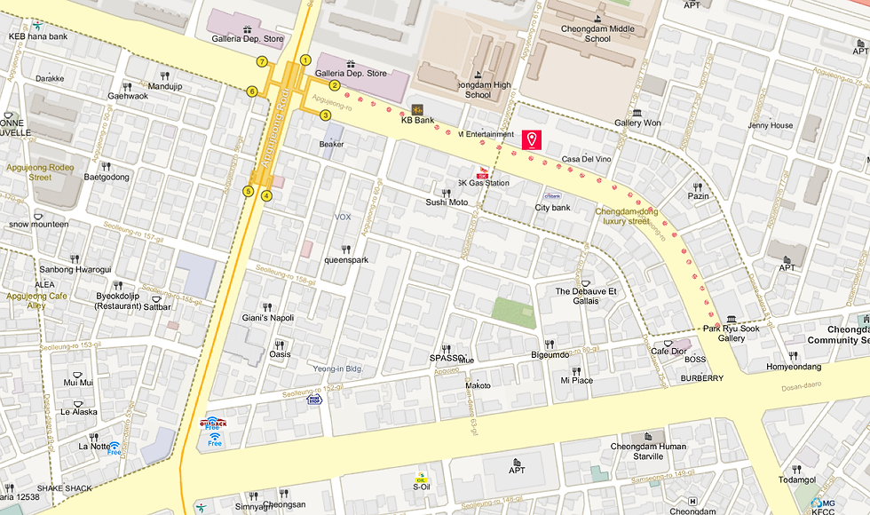 Getting to Cheongdam-dong Luxury Fashion Street & Location Map | Seoul, South Korea
