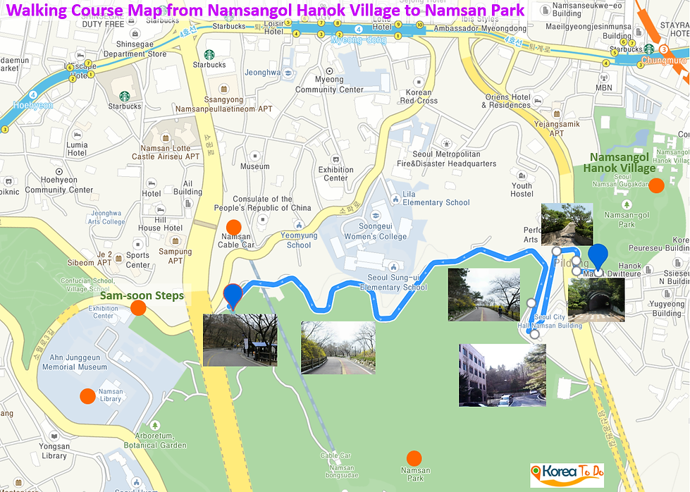 Walking Course Map of Namsangol to Namsan Park | KoreaToDo
