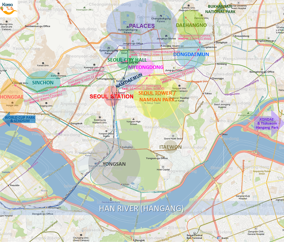What to do and see North of Han River in Seoul - South Korea - Tourist Map of Top Places To Go