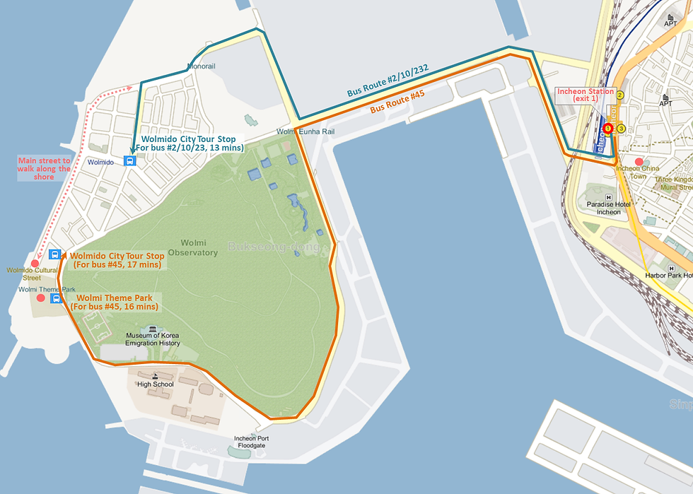 Incheon - Wolmido Island Location Map & Bus Routes from Incheon Station | Incheon, South Korea