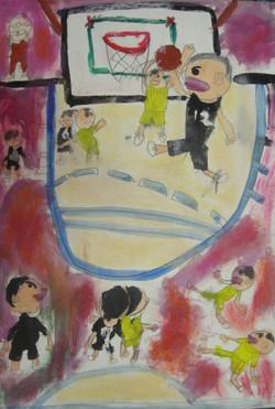 M・Rくん 小4 バスケットボール 水彩・パステル