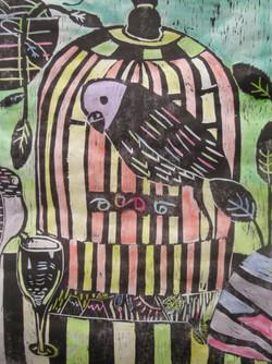 T・Tくん 中1 オウムとインコ 木版画裏着彩