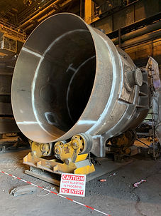 ladle welds blasted for NDT Testing