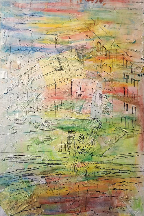 Building Memory Mixed Media on Canvas by Artist Arjoon Kc