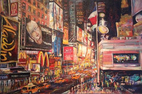Tribute to Us Navy on Broadway Acrylic on Canvas Artist Arjoon Kc