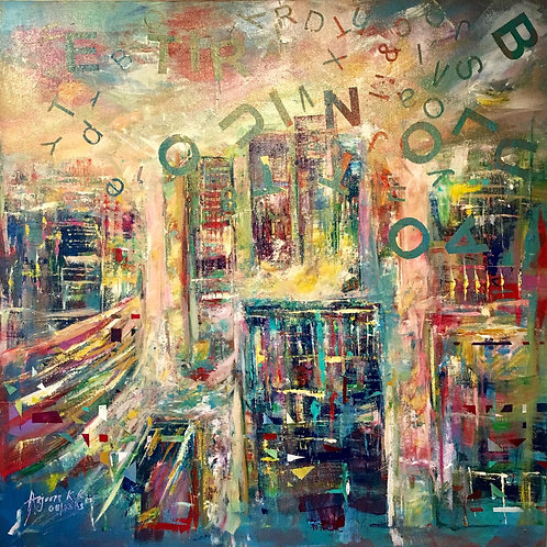 Knowing City Acrylic on Canvas by Artist Arjoon Kc