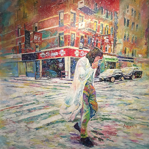"Realization; Walking Alone on Snowy Day, NY, Acrylic on Canvas 60""X 60"" ArjoonKC"