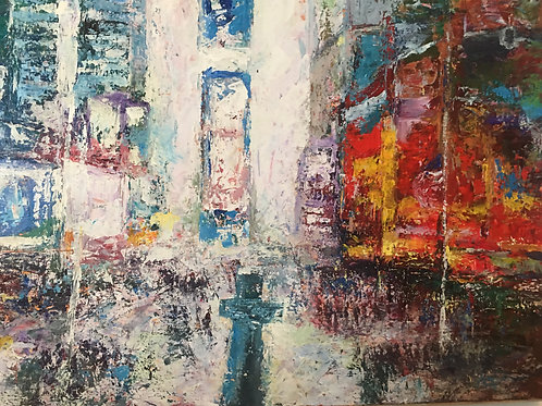 Broadway at a Glance Acrylic on Canvas Artist Arjoon Kc