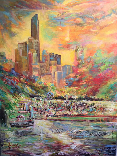 Dallas with trinity river Acrylic on Canvas by Arjoon Kc