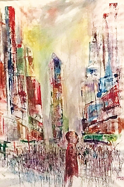 Diffuse Memory 2, New York Acrylic on Canvas by Artist Arjoon Kc