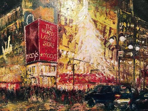 Christmas on Macy's, Acrylic on canvas by Artist Arjoon Kc