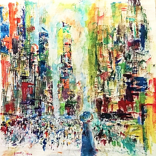 Diffuse Memory, New York Acrylic on Canvas by Artist Arjoon Kc