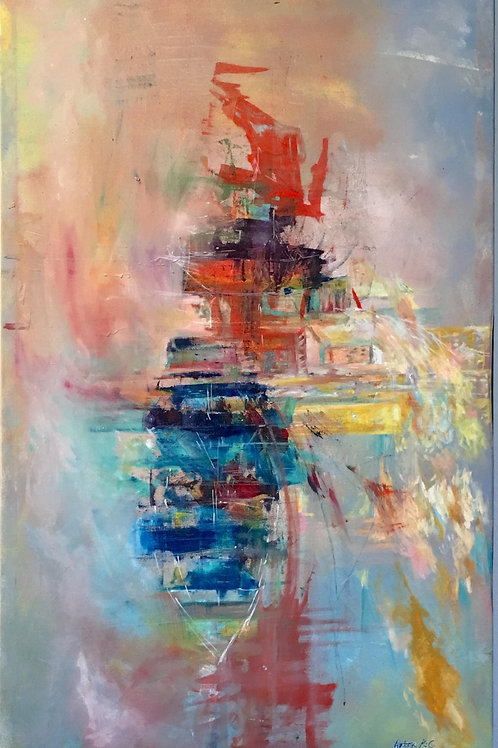 One Boat, 4 cities and immigrants Acrylic on canvas by Artist Arjoon Kc