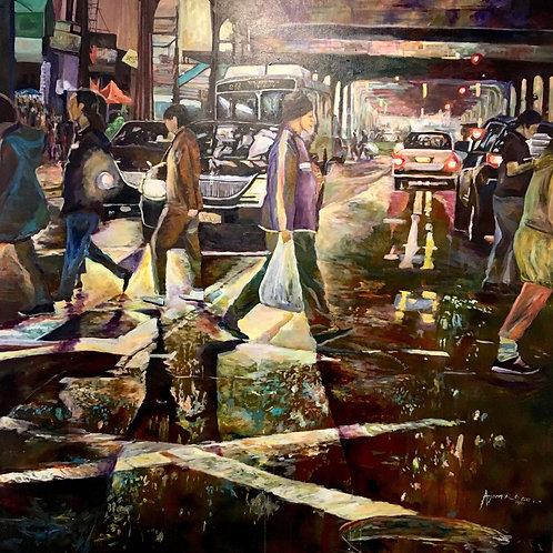 Jackson Height Acrylic and Enamel on Canvas by Arjoon Kc