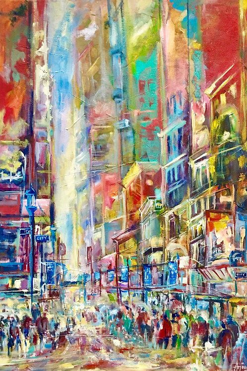 Sparkling City Acrylic on canvas by Artist Arjoon Kc