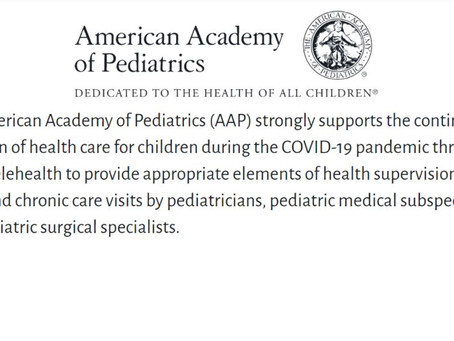 Benefits of Telemedicine, American Academy of Pediatrics (AAP) supports the use of Telehealth.