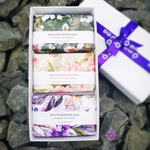 Gift Set of Three Handmade Soaps ( Box included )