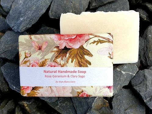 Rose Geranium & Clary Sage Natural Handmade Soap