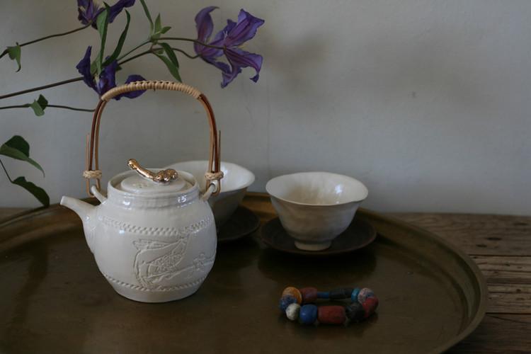 花鳥格子柄十号木型急須三合_煎茶器.JPG