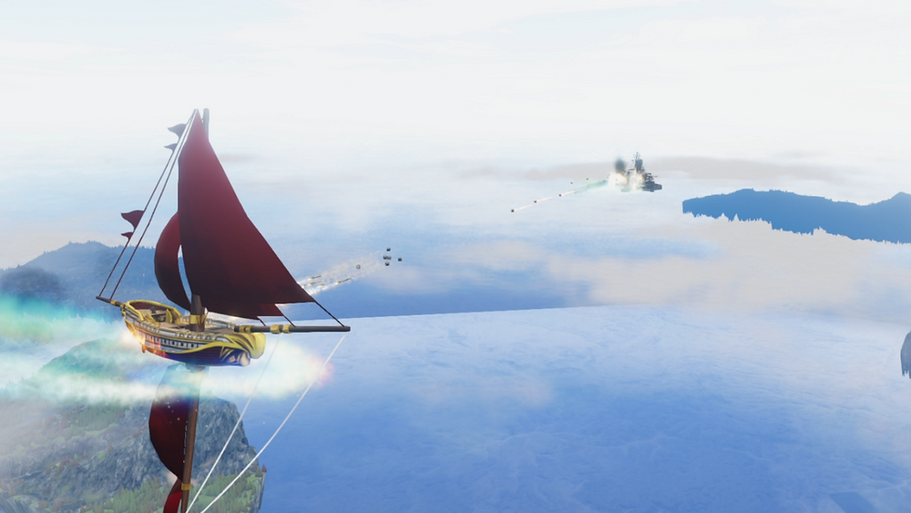 A Falcon's Victory Airframe in combat against a Teutonic ship in a post-war skirmish