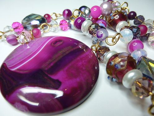 'Perfection in Plum' - Unique Handmade Agate Drop Beaded Necklace