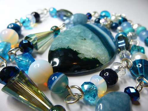 'Memories of Teal' - Unique Handmade Agate Drop Beaded Necklace
