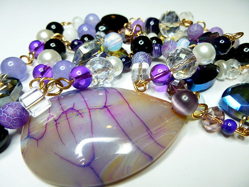 'Shimmering Dreams' - Unique Handmade Agate Drop Beaded Necklace