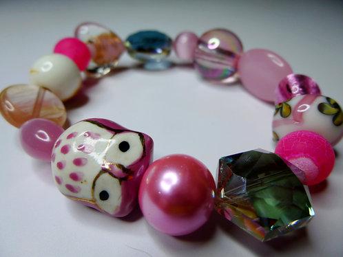 'Hootin' Pink' - Unique Handmade Beaded Bracelet