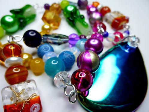 'Festival Fantasy' - Unique Handmade Agate Drop Beaded Necklace