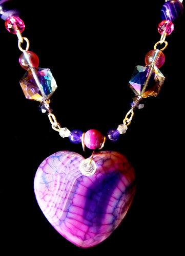 'My Purple Heart' - Unique Handmade Agate Drop Beaded Necklace