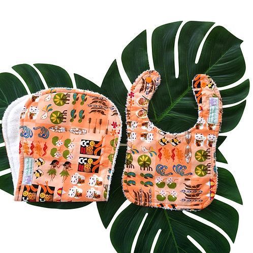 Burp Cloth and Bib Orange Hawaiian