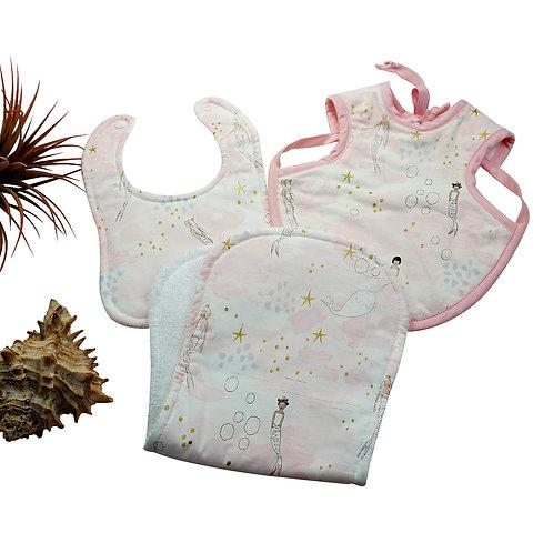 Bib and Burp Cloth Set Mermaid Pink