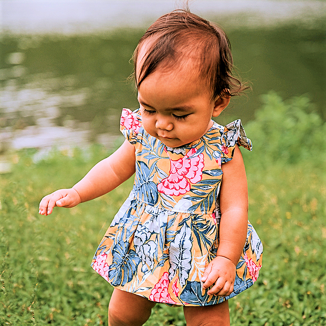 Monstera Baby Playsuit  with skirt overl