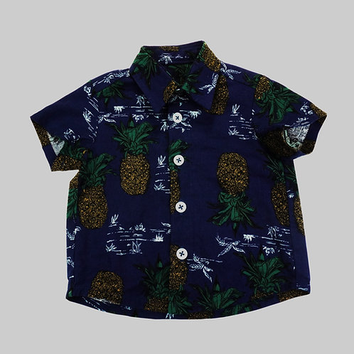 Aloha Shirt Navy Blue with Pineapple