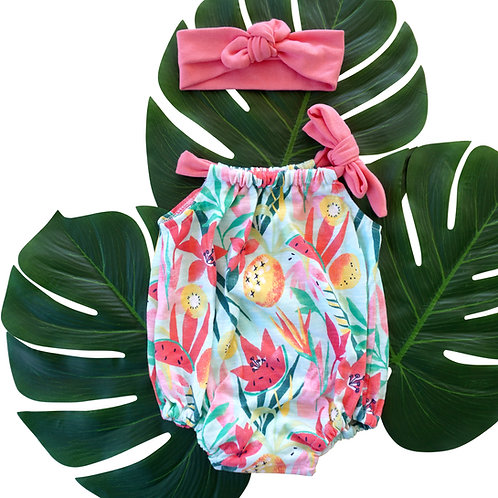 Amber Romper Tropical Fruits and Flowers
