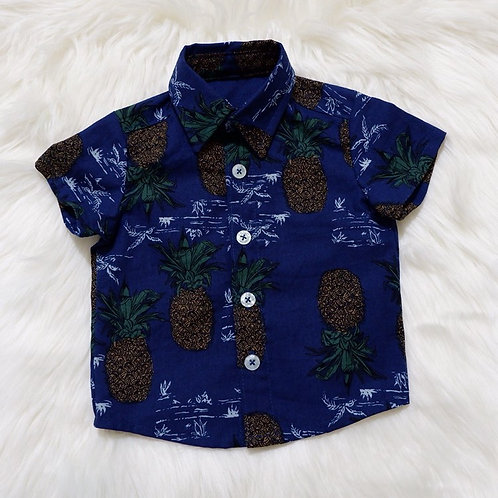 Aloha Shirt Navy Blue with Pineapple