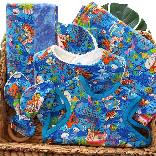 Hawaiian Bib Set with Changing Pad Blue Mermaid