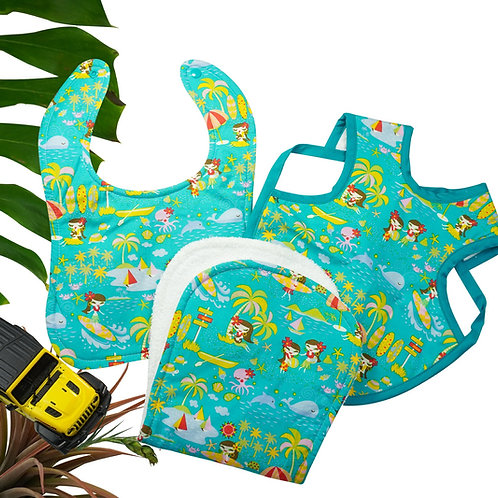 Hawaiian Bib Set Hula Surf Teal
