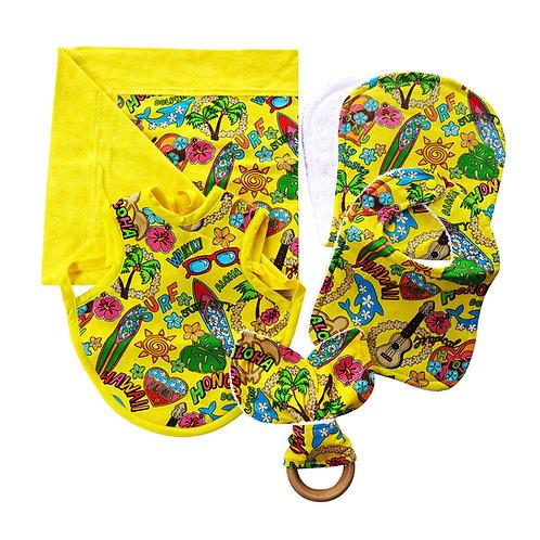 Hawaiian Bib Set with Teething Ring Yellow