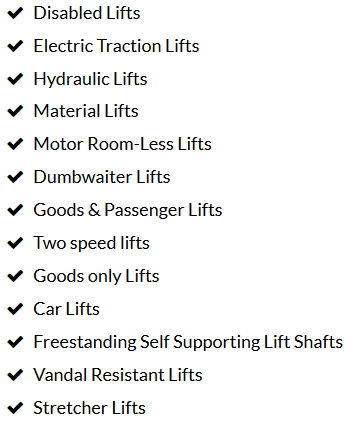 disabled lifts electric traction lifts hydraulic lifts goods lifts passenger lifts