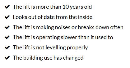Lift Modernisation Refurbishment Criteria