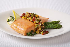 Baked wild salmon with roasted corn salsa