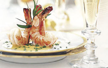 Shrimp with champagne beurre blanc