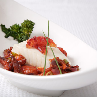 Halibut with Blood Oranges and Tomato