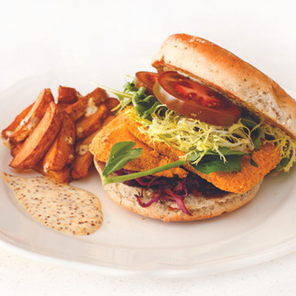 Corn Meal Crusted Halibut Burger